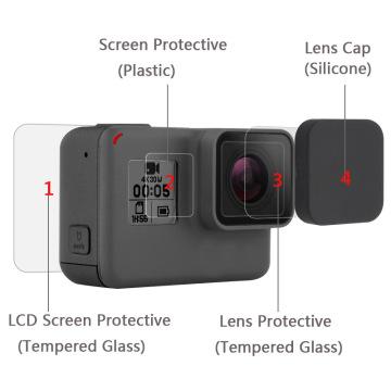New Tempered Glass Protector Cover Case For Go Pro Gopro Hero 5 6 7 Hero5 Hero6 Hero7 Camera Lens Cap LCD Screen Protective Film