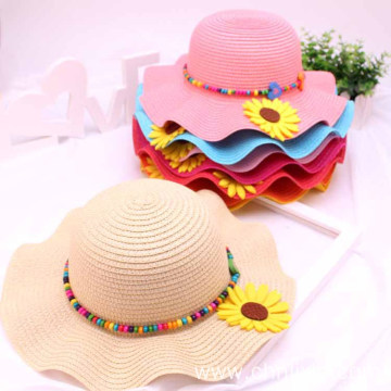 Watered style baby outdoor straw hat highlight color