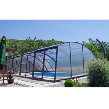 Swimming Pool Cover Enclosures With Polycarbonate Sheet Roof