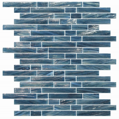 Blue subway glass Mosaic tile home depot