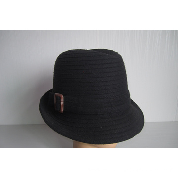 Women's Wool Fabric Braid Buckle Trimmed Hats