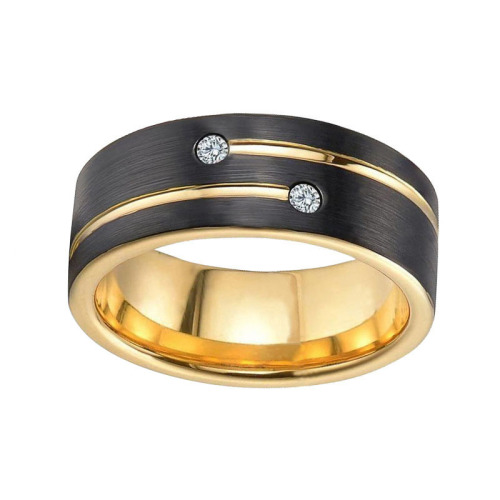 Laser Engraving Tungsten Cubic Zirconia Rings For Him