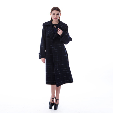 New blue checked cashmere overcoat