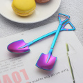 Creative Shovel Shape Engraved Metal Tea Coffee Spoon