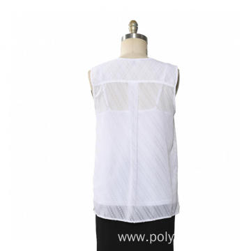 Ladies Blouse Clip Dot Chiffon With Inner Vest