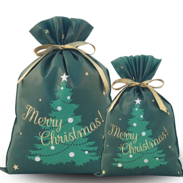 Green Christmas Tree Drawstring Gift Bags