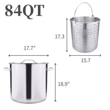 84QT Stainless Steel Stock Pot with Basket