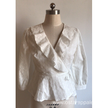 3/4 Sleeve with Ruffle for Embroidery Blouse