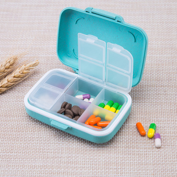 6 grids organizer container for tablets travel pill box with Seal ring Small box for tablets Wheat straw container for medicines