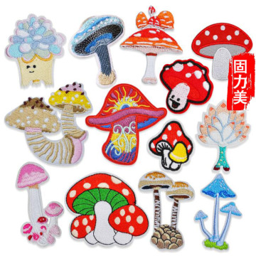 10pc cartoon red pink blue yellow white mushroom embroidered ironing on patch