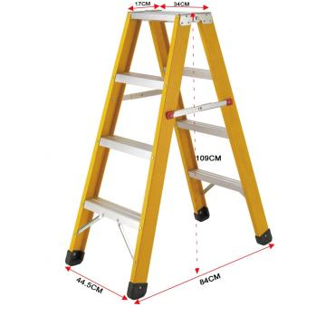Double side steps fiberglass ladder