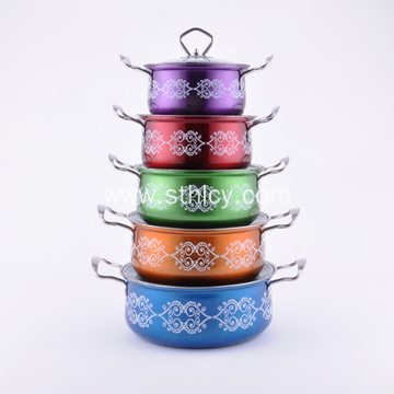 Colorful Flower Printing Stainless Steel Soup Pot Set