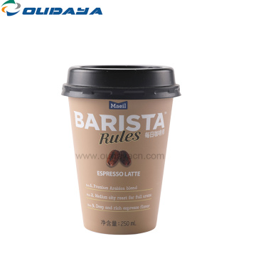 disposable cold drink plastic coffee juice cup with lid