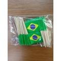 Mini 50Pcs Brazil Toothpick Flags Paper Food Picks Cake Toothpicks Cupcake Toppers Fruit Cocktail Sticks Decoration Toothpicks