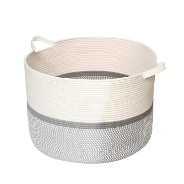 Large cotton rope round braid laundry storage basket