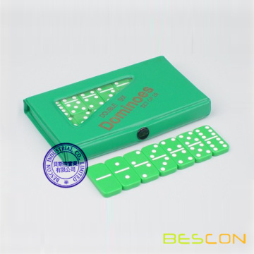 Small Travel Double 6 Green Domino Set