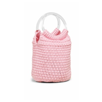 Hot Fashion Pink Crochet Handbag Design