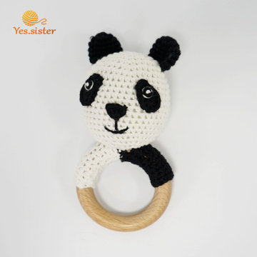 Cute Wooden Crochet Panda Rattle Teething Toys