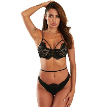 Transparent underwire eyelash lace cup bra set