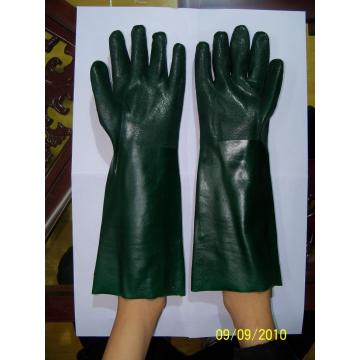 Green PVC Double dipped gloves with interlock liner