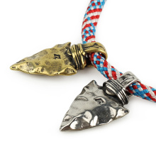 Stone Spear Pendant Brass Knife Beads Parachute Cord Bead Outdoor EDC Tool