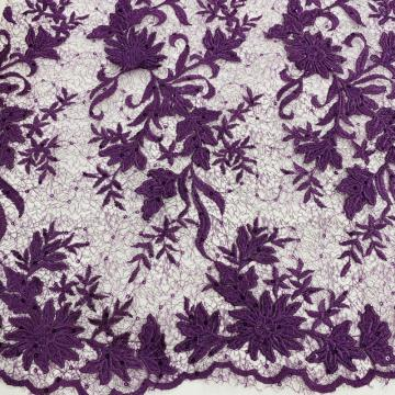 3D Violet Shiny Poly Yarn Flower Embroidery Fabric