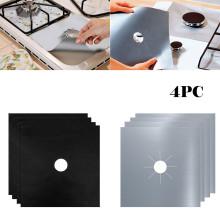 25# 4pcs Black Silver Gas Stove Protectors Reusable Kitchen Gas Stove Burner Cover Liner Mat Injuries Protection Cookware Parts