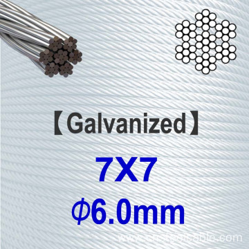 7x7 Dia.6mm Galvanized steel cable