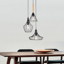 Industrial Vintage 3-Light Metal Wire Cage Pendant Light