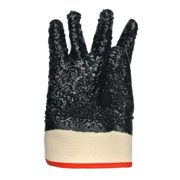 Black PVC Dipped gloves anti-cut safety cuff