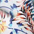 Pure linen printed fabric with pastoral plant pattern