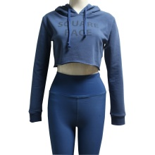 Blue Crop Top Run Hoodie Mo nga Wahine