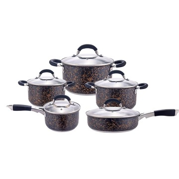 Black metal cooking pot set with black handle