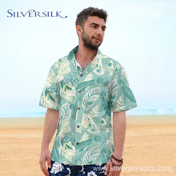 flamingo leaves printed cotton hawaiian shirt men
