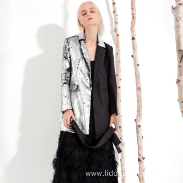 High Quality Slim Style Silver Sequin Women Coat
