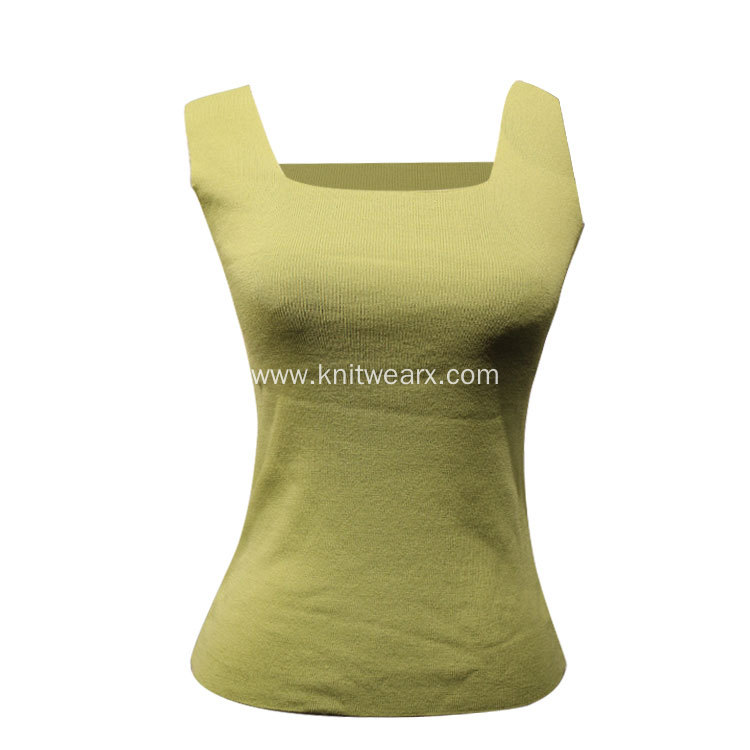 Lady's Knitted Sleeveless Square Neck Vest