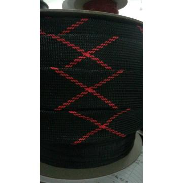 Black Red Nylon Expandable Braided Sleeving