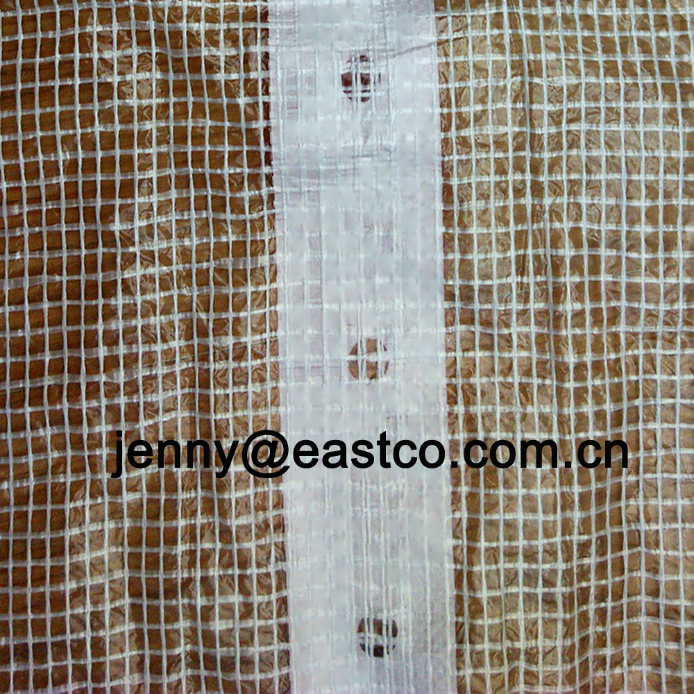 Clear Leno Mesh Tarpaulin Scaffold Cover reinforced with White Eyelet Holes Webbing Band