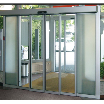 Automatic telescopic sliding door mechanism with glass