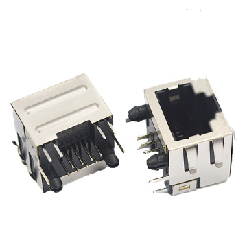 RJ45 JACK side entry 1X1Port shield with EMI
