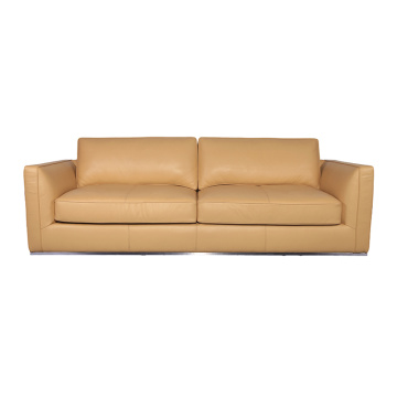 Beige Leather Richard 3 Seater Sofa