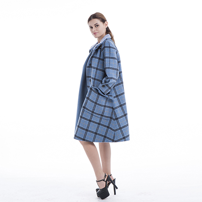 Chequered Blue Cashmere Winter Coat