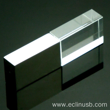 Silver Glass USB Stick With LED Light
