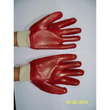Red PVC single dipped gloves with knit wrist