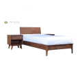 Buong Solid na Wood Single Bed na may Night Stand