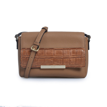 Refined Calf Leather Parker Crossbody Bag Brown-cognac