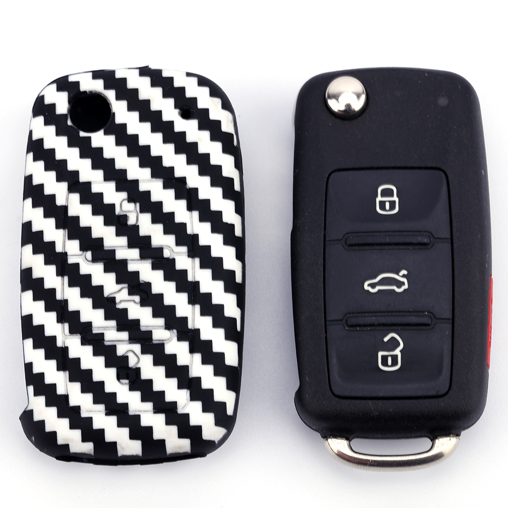 Carbon Fiber Silicone car key case