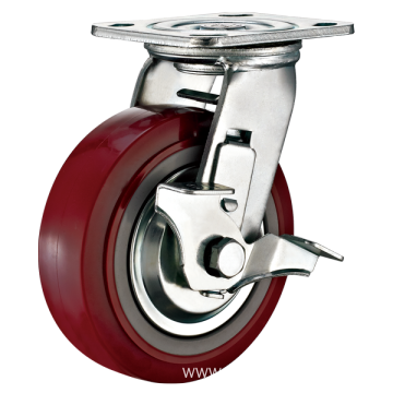 6inch Swivel TPU With Steel Cover Castors With Side Brake