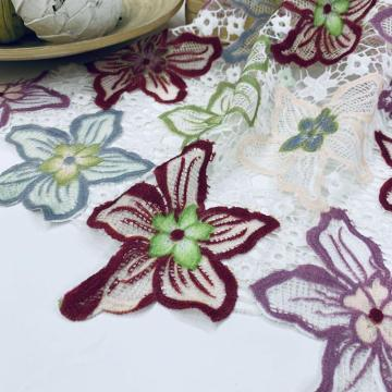 Gorgeous Printed  Flowers Chemical Lace Embroidery Fabric