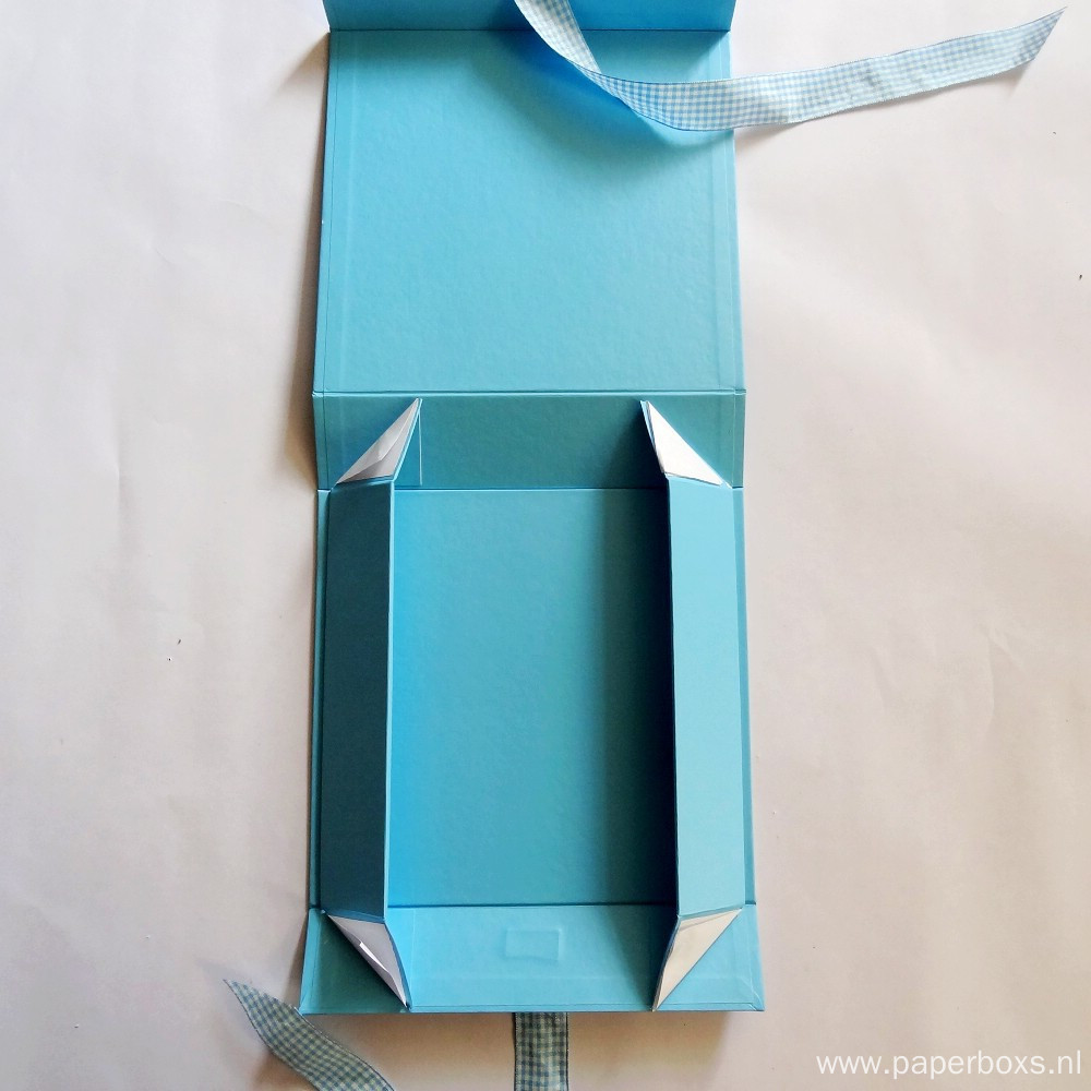 Custom Matt Blue Collapsible Ppaer Box with Ribbon
